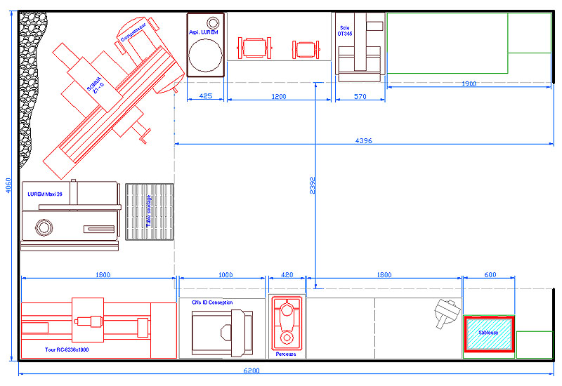 Aspiration centralisée pour atelier bois. Implan10