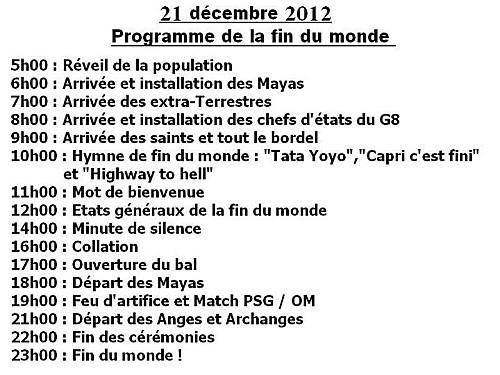 21 DECEMBRE 2012 - FIN DU MONDE - PROGRAMME DE LA JOURNEE Progra10