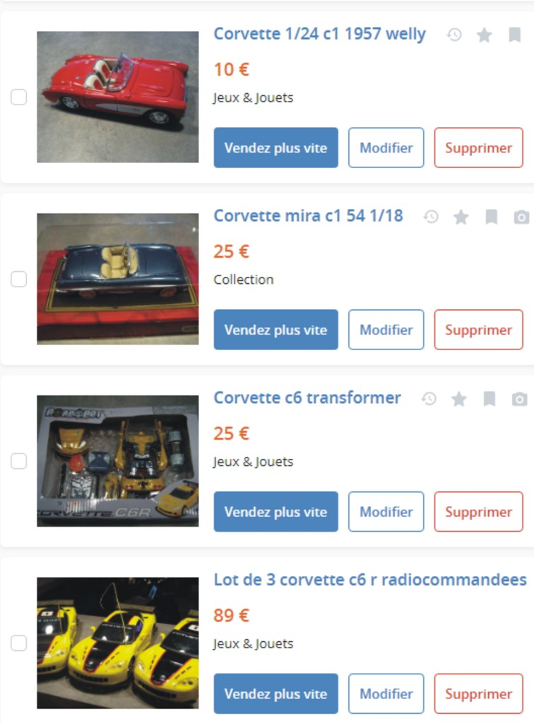 MA COLLECTION DE GOODIES CORVETTE EN VENTE Ann_1610
