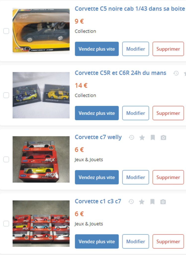 MA COLLECTION DE GOODIES CORVETTE EN VENTE Ann_1710