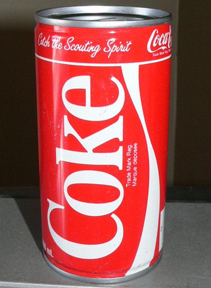 Tirelire canette 280ml (10oz) Coca-Cola 'Jamborée Scout' 1985 Cokeca10