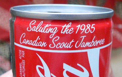 Tirelire canette 280ml (10oz) Coca-Cola 'Jamborée Scout' 1985 Cokeca12
