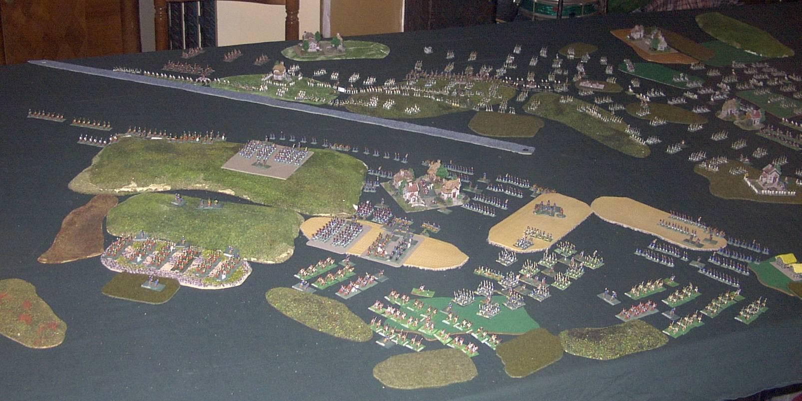 """8 février 1807 : Table-Diorama """"simpliste"""" au 1/300° pour rejouer la bataille d'EYLAU.  2014"""