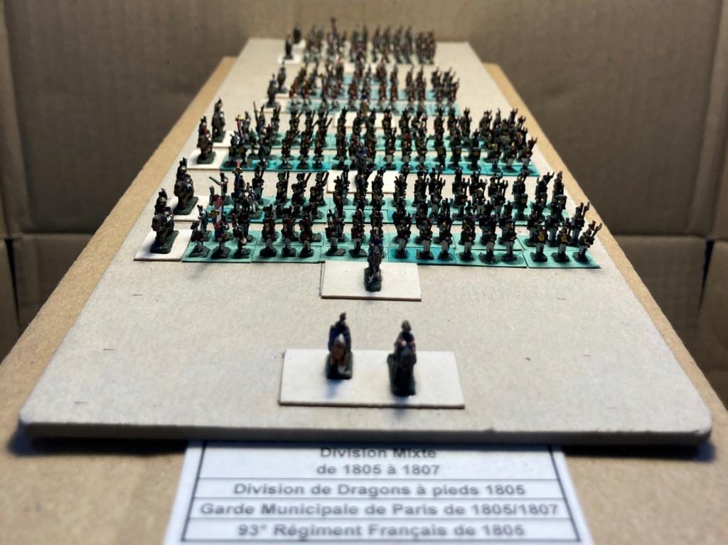 I° Empire : Division regroupant 1 Brigade de Dragons à pieds [1803/1806] + 1 Brigade de la Garde Municipale de PARIS [1802/1812] + le 93° Régiment d'Infanterie [1812] (Au 1/300°). 9-110