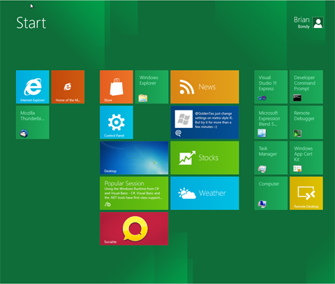 Rugby View of Windows 8 Thunde10