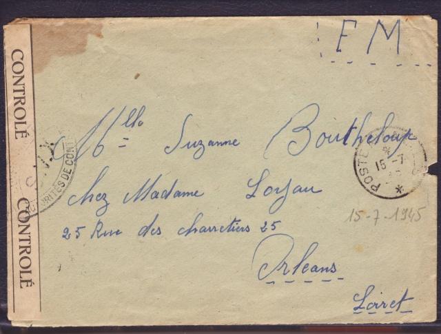 """Cachet PTT/A utilisé sur bande  """" CONTROLÈ """" en janvier 1945 sur lettre de Mulhouse. 1_000211"""