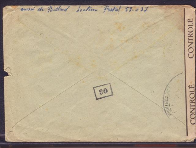 """Cachet PTT/A utilisé sur bande  """" CONTROLÈ """" en janvier 1945 sur lettre de Mulhouse. 2_000111"""