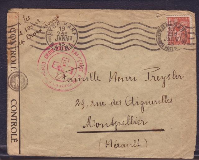 """Cachet PTT/A utilisé sur bande  """" CONTROLÈ """" en janvier 1945 sur lettre de Mulhouse. 3_000110"""