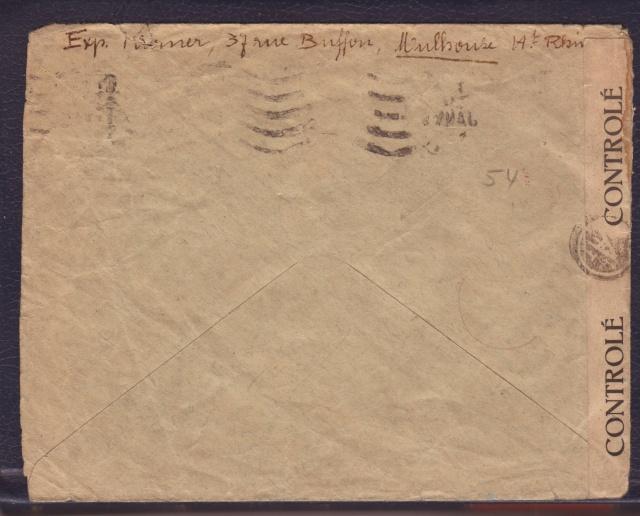 """Cachet PTT/A utilisé sur bande  """" CONTROLÈ """" en janvier 1945 sur lettre de Mulhouse. 4_000110"""
