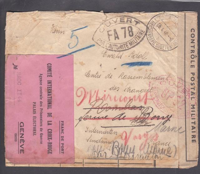 """Etiquette-adresse """"Franc de Port""""  CICR Agence centrale des PG Palais Electoral Genève.  _1f_0011"""
