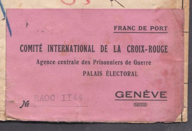 """Etiquette-adresse """"Franc de Port""""  CICR Agence centrale des PG Palais Electoral Genève.  _1y_12"""