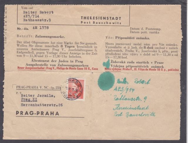 Un document pour se procurer le timbre du ghetto de térézin ( Theresienstadt) _5_00012