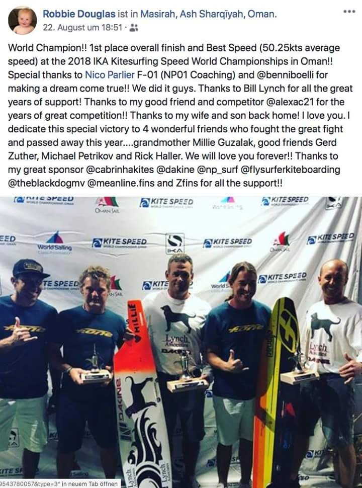 Robbie Douglas encore champion du monde de vitesse en Flysurfer Soul ! 20180810