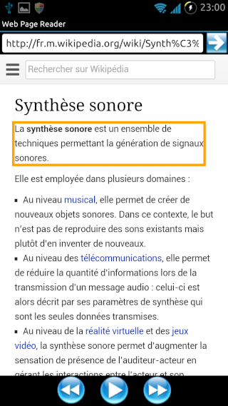 [SOFT] WEB PAGE READER : Navigateur Web avec synthèse vocale intégrée [Gratuit/Payant] Screen11