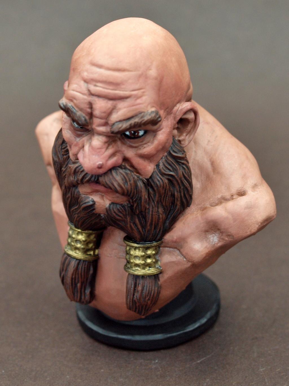 Dwarf Bust - Zwergenbüste - ca. 1:9 / 80 mm - 3D Druck Male_d13