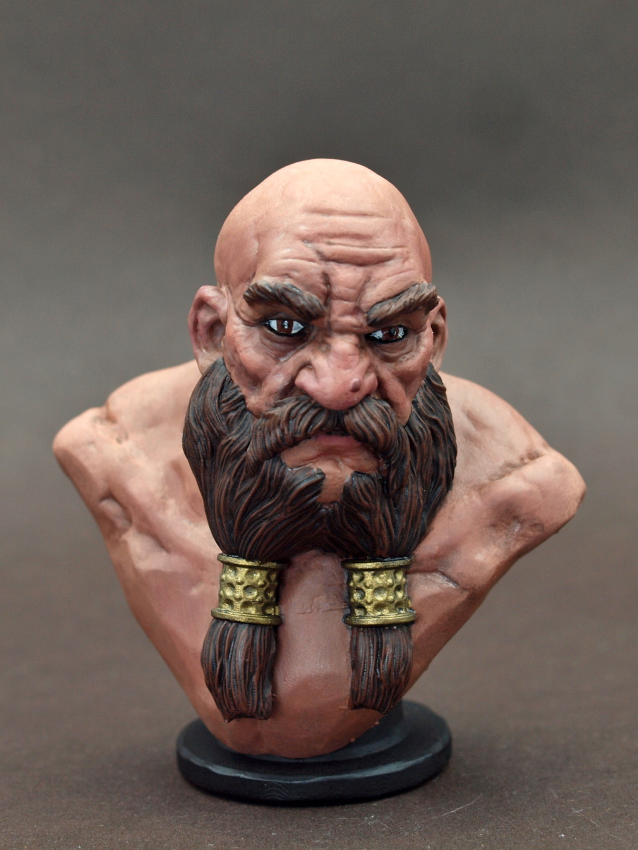 Dwarf Bust - Zwergenbüste - ca. 1:9 / 80 mm - 3D Druck Male_d14