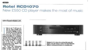 Rotel RCD 1070 - 5 Star Awards CD Player (Sold) Rotel_10