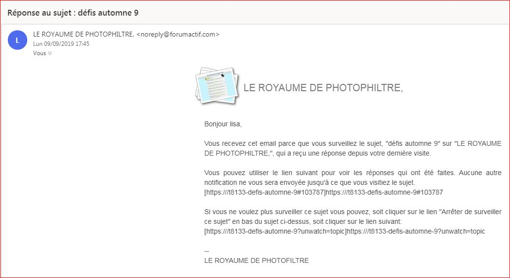 Mails : lien de notification incomplet ou erroné. 110
