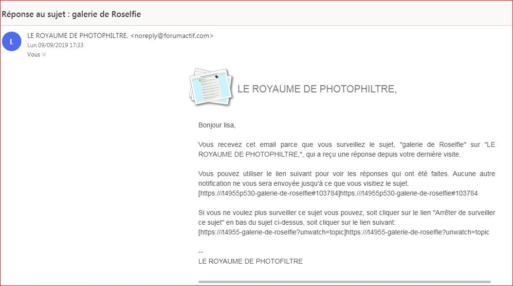Mails : lien de notification incomplet ou erroné. 210