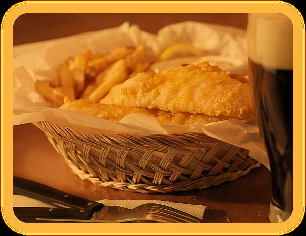 Рыба в пивном кляре и картофель-фри. Блюдо Имболка. Ao__ua10