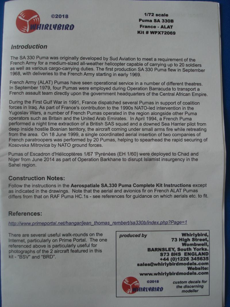 [WHIRLYBIRD]SUD AVIATION SA 330 B PUMA ALAT 1/72ème Réf WPX72069 Dsc07529