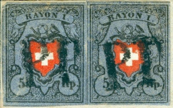 SBK 15II (Mi 7II) 1850 Faltbrief mit 2 x Rayon I dunkelblau ohne KE frankiert  1850_c13
