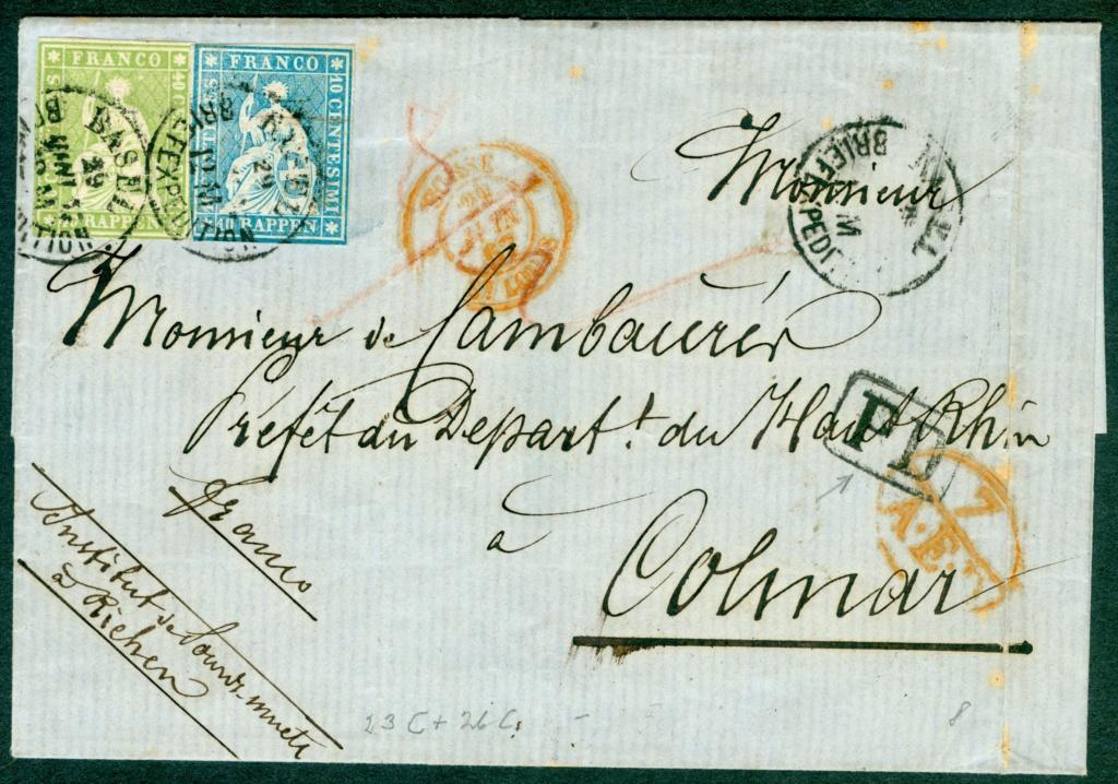 Strubelbrief 1857 von Basel nach Colmar mit 23C und 26C 1857_b12