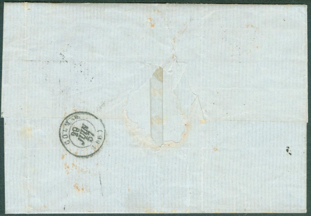 Strubelbrief 1857 von Basel nach Colmar mit 23C und 26C 1857_b16