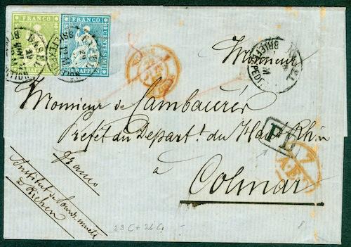 """Schweiz 1854-1863 """"Strubel"""" Sitzende Helvetia Ungezähnt 1857_b17"""
