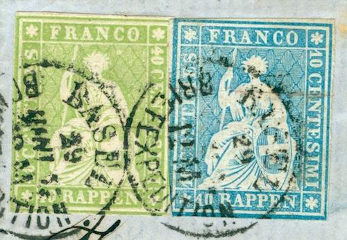 """Schweiz 1854-1863 """"Strubel"""" Sitzende Helvetia Ungezähnt 1857_b18"""