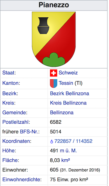 Pianezzo (heute Bellizona) TI - 605 Einwohner Scherm19