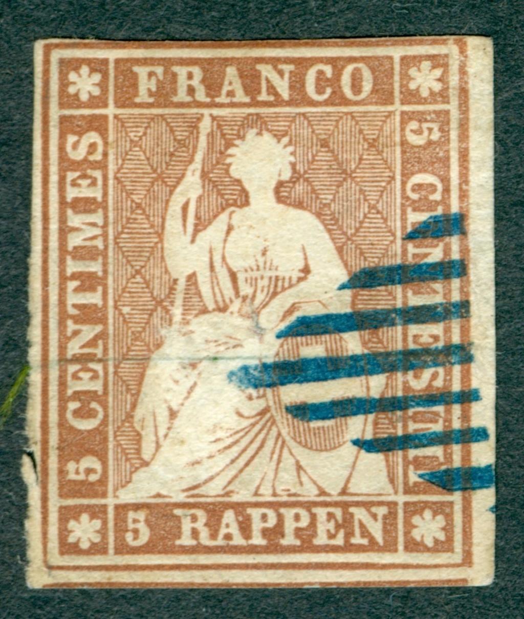 """Schweiz 1854-1863 """"Strubel"""" Sitzende Helvetia Ungezähnt Strube15"""