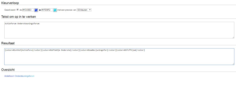 Kleurverloop in tekst BBcode generator Gradie10