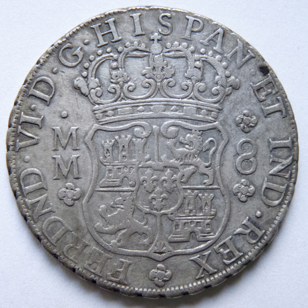 8 reales de Fernando VI, 1758 Mexico P1030510