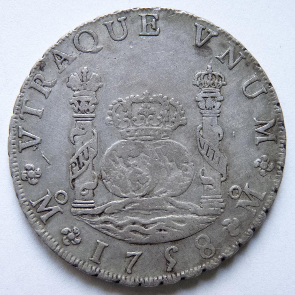 8 reales de Fernando VI, 1758 Mexico P1030511