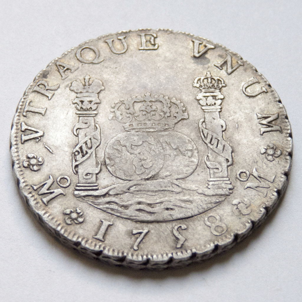 8 reales de Fernando VI, 1758 Mexico P1030513