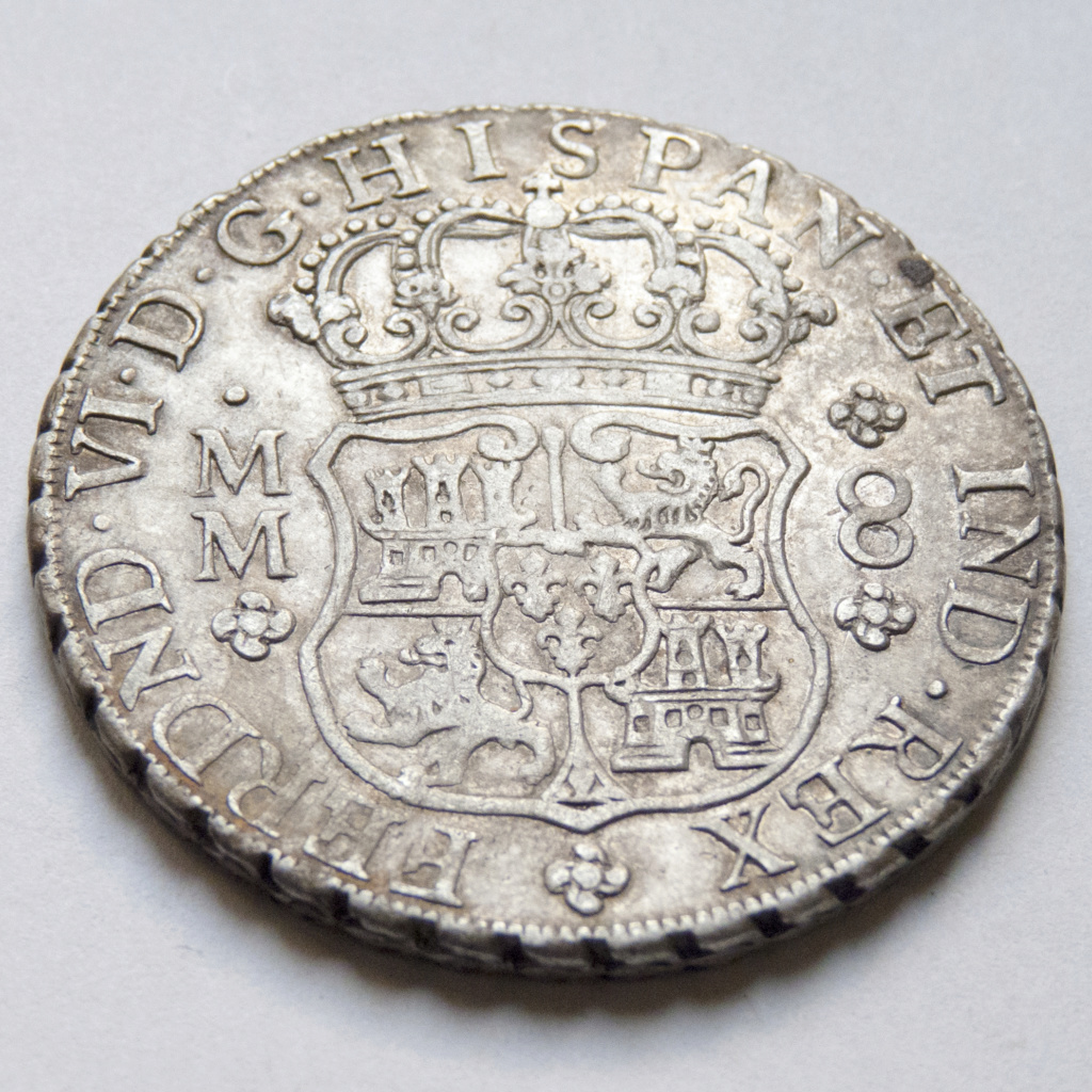 8 reales de Fernando VI, 1758 Mexico P1030514