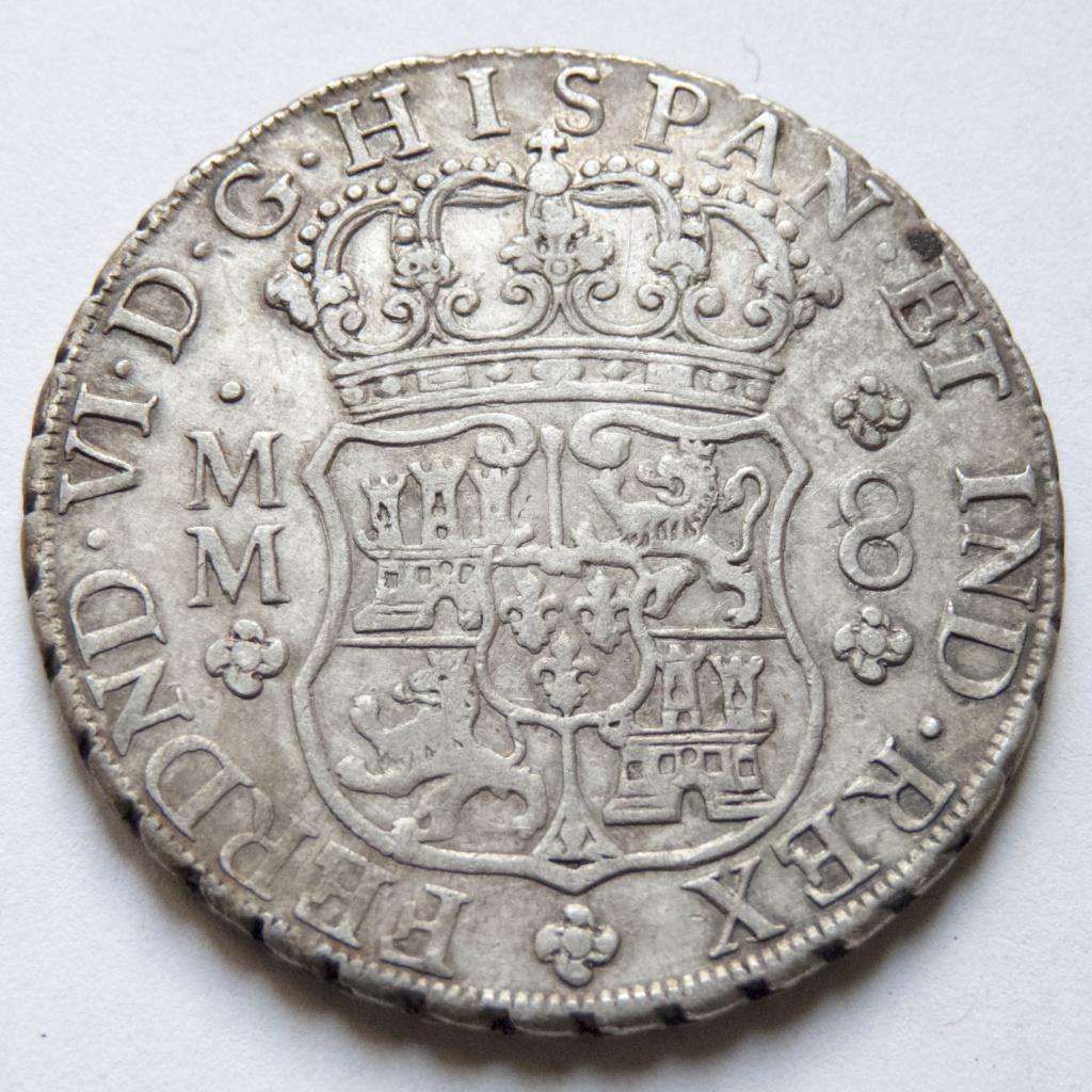 8 reales de Fernando VI, 1758 Mexico P1030515
