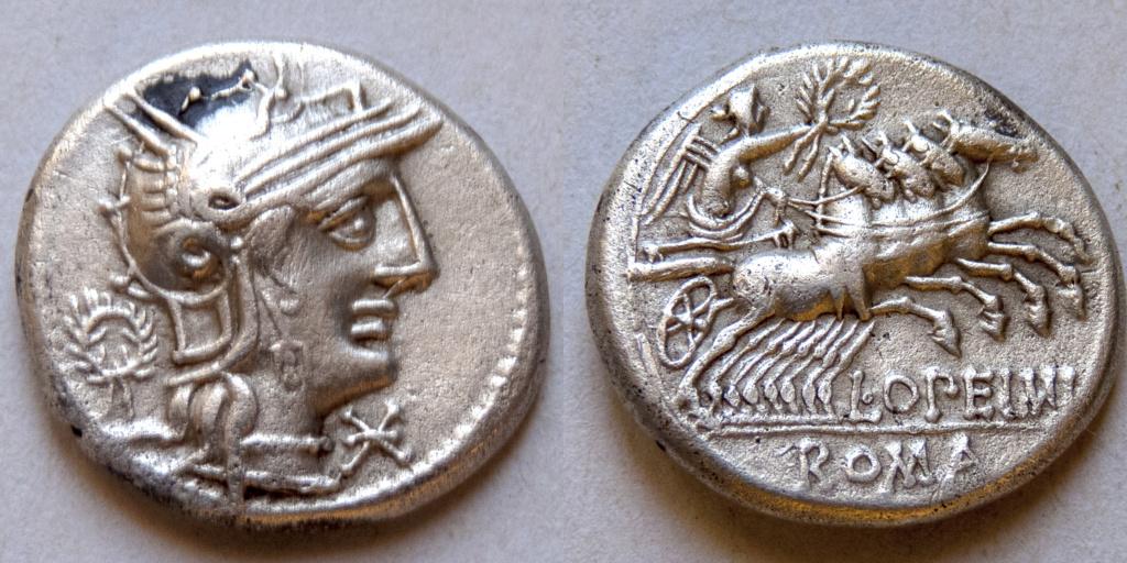 Denario de la gens Opeimia. L. OPEIMI - ROMA. Victoria guiando cuádriga a dcha. Roma. P1040114