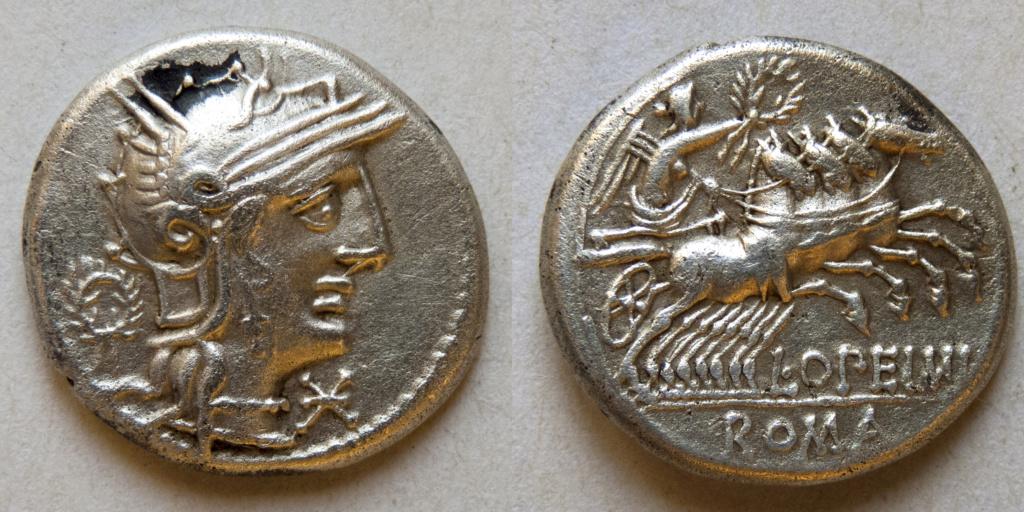 Denario de la gens Opeimia. L. OPEIMI - ROMA. Victoria guiando cuádriga a dcha. Roma. P1040115