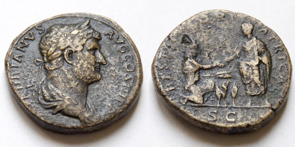 Sestercio de Adriano. RESTITVTORI AFRICAE. Emperador y África. Roma. P1040117