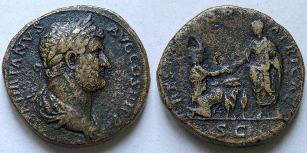 Sestercio de Adriano. RESTITVTORI AFRICAE. Emperador y África. Roma. P1040118