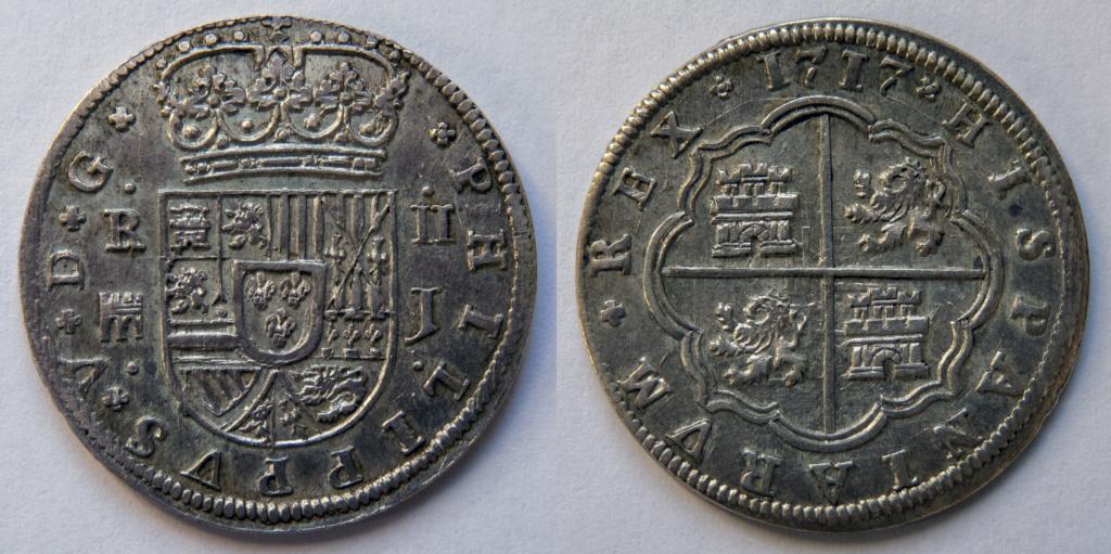 2 reales 1717 Segovia, Felipe V. Colección Manuela Etcheverría P1040510