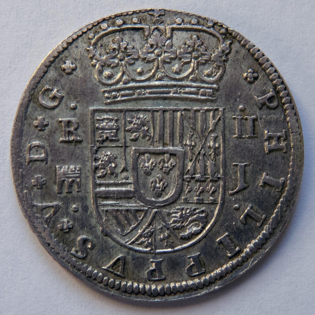 2 reales 1717 Segovia, Felipe V. Colección Manuela Etcheverría P1040511