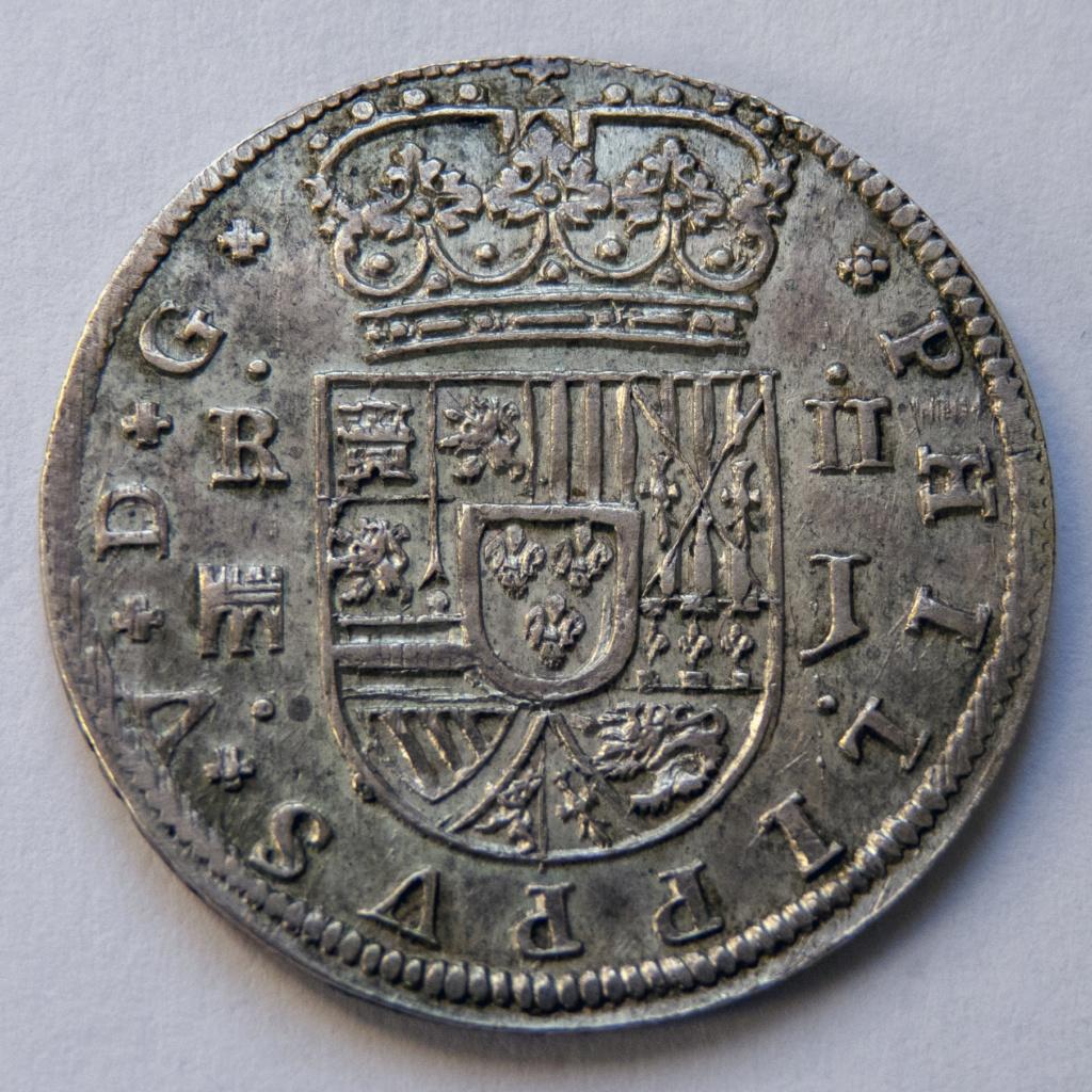 2 reales 1717 Segovia, Felipe V. Colección Manuela Etcheverría P1040514