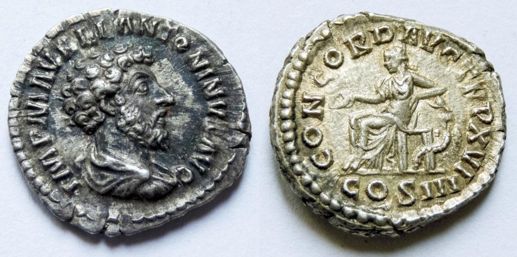 Denario de Marco Aurelio. CONCORD AVG TR P XVI - COS III. Concordia sedente a izq. Roma. P1040811