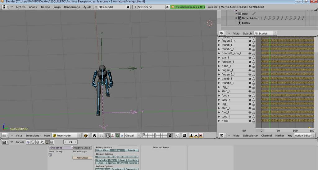 La animación no aparece en Tm  y en Blender va lentísimo Gimnas10