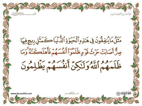 الآية 117 من سورة آل عمران الكريمة المباركة Aeoo_115
