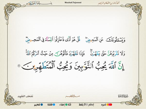الآية 222 من سورة البقرة الكريمة المباركة Aeoo_223