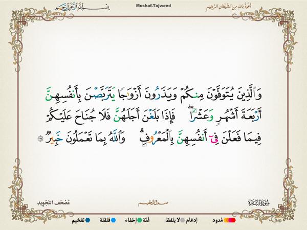 الآية 234 من سورة البقرة الكريمة المباركة Aeoo_235